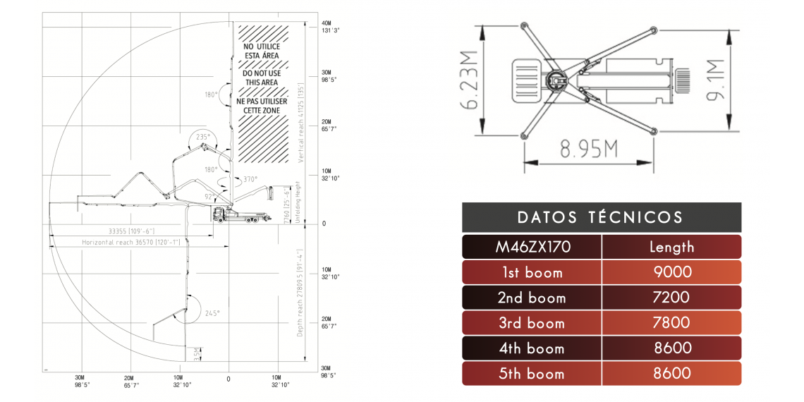 Bomba de hormigón DICOMM 46ZX5170, Modelo: Arocs 4146 8x4/4, material de construcción bombeo 46m