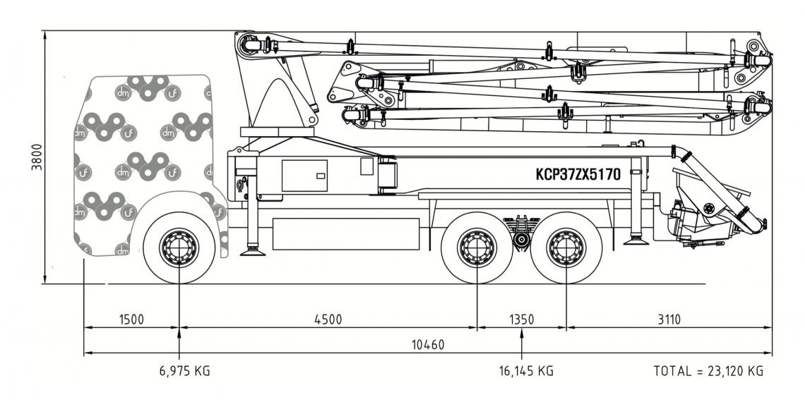 Bomba de hormigón DICOMM 37ZX5170, Modelo :  Arocs 2640 6x4, material de construcción bombeo 37m